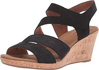 Rockport Womens Briah Asym Wedge Sandal, Black Nubuck, 8.5 W US