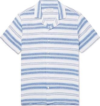 Orlebar Brown Travis Camp-collar Striped Linen And Cotton-blend Shirt - Blue