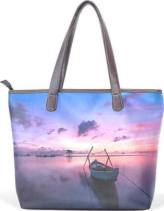 NaiiaN Shoulder Bags for Women Girls Ladies Student Light Weight Strap Tote Bag Handbags Purse Shopping Leather Lake Evening Boat Beautiful Scenery Vintage