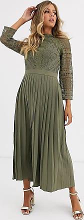 Little Mistress Midaxi-Kleid in Khaki mit Spitzendetail-Grün