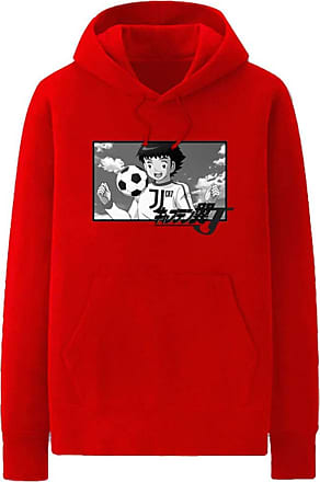 Haililais Captain Tsubasa Pullover Hoodie Popular Sweatshirt Simple Leisure Printed Pullover Long Sleeve Tops with Pocket Unisex (Color : Red01, Size : Height-1