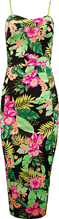 Crazy Girls Ladies Strappy Floral Flower Print Knee Length Womens Bodycon Fitted Midi Dress (8, Tropical Print)
