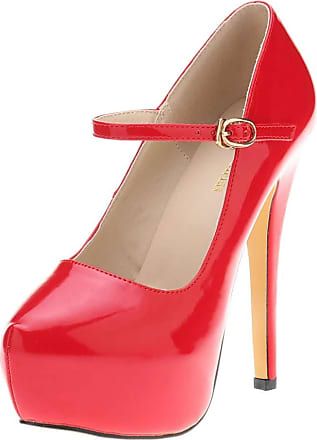 OCHENTA Womens Heels Round Toe Platform Ankle Strap Party Shoes Red Tag 37-UK 4.5