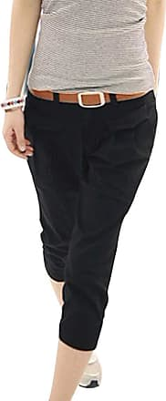 Inlefen Womens Summer Cropped Trousers Motion Casual Pants Pocket Slim fit Pants (Black M)