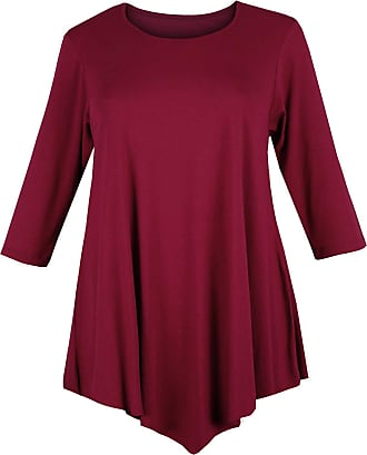 Re Tech UK Ladies Three Quarter Sleeve V Cut Round Neck Baggy Loose Swing Dress Tunic Top Purple - Plus Size, Wine, Plus Size XXL 20-22