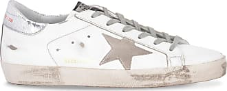 Golden Goose Superstar white and orange sneakers