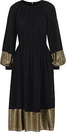 Derek Lam Derek Lam Woman Ribbed Lamé-paneled Pleated Silk-blend Crepe Midi Dress Black Size 38