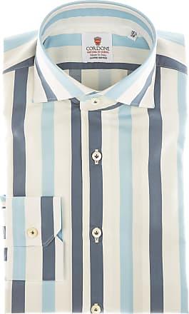 Cordone 1956 Camicia sartoriale Mod. Cotton Big Stripes Azure And Blu - Tessuto cotone - popeline - Colore bianco - Taglia 36