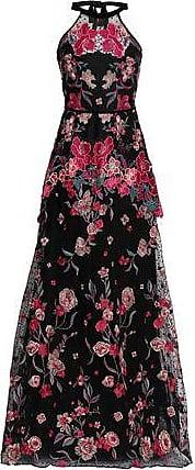 Marchesa Marchesa Notte Woman Crocheted Tulle And Scuba Peplum Dress Black Size 14