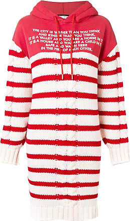 Each Other Mix Media Striped Sailor Knit Hoodie Dress - Red