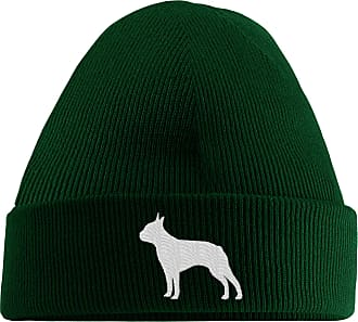 HippoWarehouse Boston Terrier Logo Embroidered Beanie Hat Bottle Green