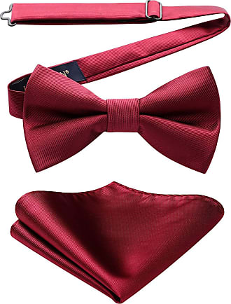 Hisdern Mens Classic Solid Pre Tied Twill Bow Tie And Pocket Square Set One Size