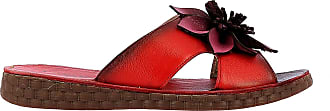 Laura Vita HECZO 06 Leather Mules Women Colors Summer Shoes Flat Comfortable Sole - Original Style Flowers Black Red Size: 4 UK