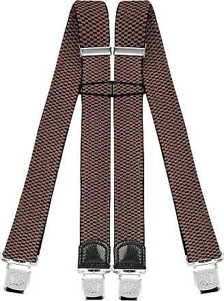 Decalen Mens Braces with Very Strong Clips Heavy Duty Suspenders One Size Fits All Wide Adjustable and Elastic X Style (Dark Beige)