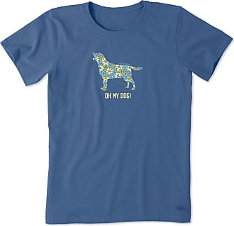 Life is good Womens Oh My Dog Crusher Tee XXXL Vintage Blue