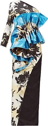 Germanier Ruffled Floral-jacquard Gown - Womens - Blue Multi