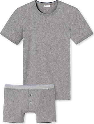 Schiesser Revival Ludwig Mens Shirt & Shorts Set Grey Melange - Grey - 8