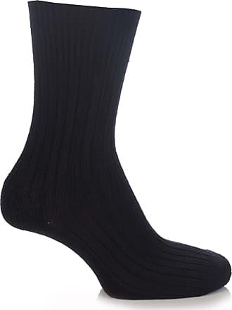 SockShop Mens & Ladies 1 Pair SockShop of London Bamboo Short Ribbed Boot Socks With Cushioning - Black 11-13
