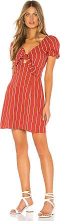 J.O.A. Striped Tie Front Mini Dress in Brick