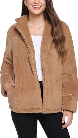 iClosam Womens Fleece Open Front Coat Ladies Fluffy Long Sleeve Outwear Jacket Cardigan with Pockets