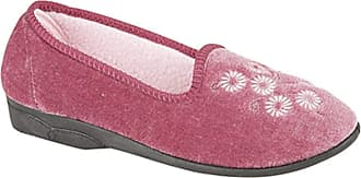 Zedzzz CATHY Ladies Embroidered Slipper Textile Heather Velour UK 4