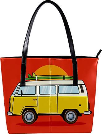 Nananma Womens Bag Shoulder Tote handbag with Hippie Bus Travel Van Print Zipper Purse PU Leather Top-handle Zip Bags