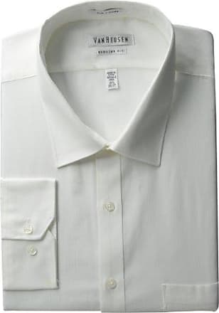 Van Heusen Mens Pincord Regular Fit Solid Spread Collar Dress Shirt, White, 18 Neck 32-33 Sleeve
