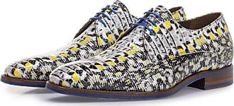 Floris Van Bommel Gelber Lackleder-Schnürschuh mit Schlangenprint, Business Schuhe, Handgefertigt