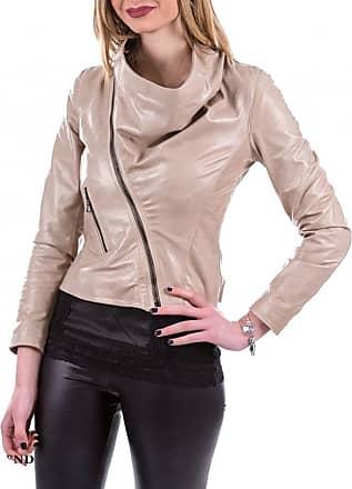Leather Trend Italy Scialla - Giacca Donna in Vera Pelle colore Beige Morbida