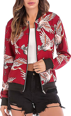 EmilyLe Womens Floral Print Bomber Jacket Long Sleeve Zipper Baseball Casual Outwear Fashion Tops (XL, Crane Red)