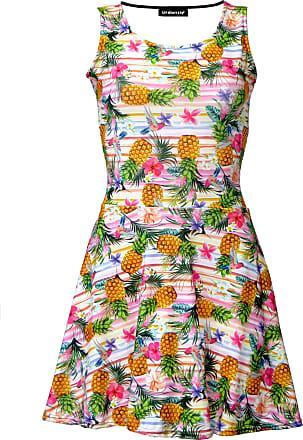 Insanity Tropical Floral Exotic Pineapple Birds Stripe Pattern Print Sleeveless Skater Dress (S/M)