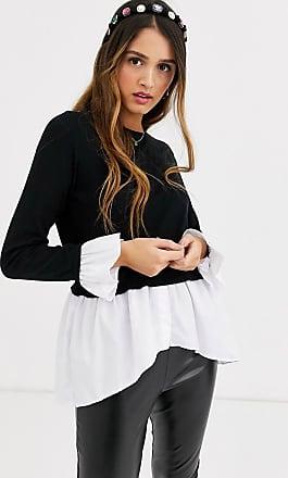 Qed London Schwarzes 2-in-1 Pulloverhemd