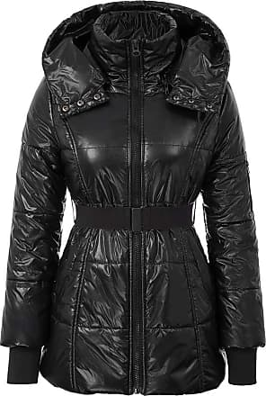 Grace Karin Winter Long Padded Coat with Belt Slim Stand Collar Hooded Parka Warm Outdoor Parka Black M
