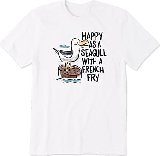 Life is good Mens Happy As A Seagull Crusher Tee XXXL Cloud White