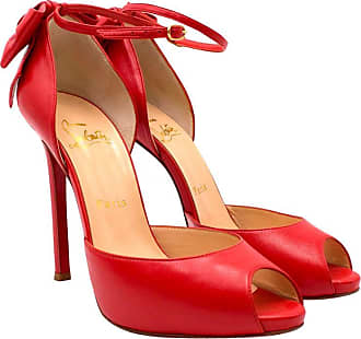 46f7c9a8d84 Christian Louboutin Red Peep-toe Bow Embellished Sandals 37.5