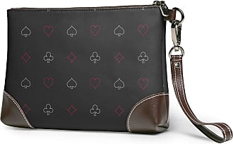 NA Black Gambling Card Womens Real Leather Large Square Wristlit Wallet Cellphone Pouch Clutch