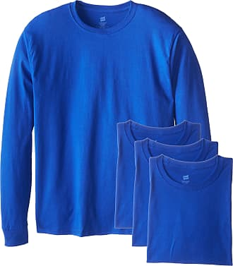 Hanes Mens Long-Sleeve ComfortSoft T-Shirt (Pack of 4) - Blue - Large