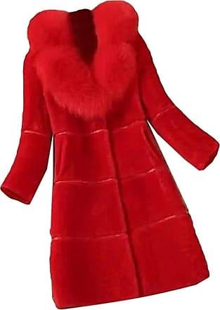 VITryst Womens Mid Length Jacket Lapel Long Sleeve Warm Faux Fur Coat Overcoats Outwear Tops,1,XX-Large