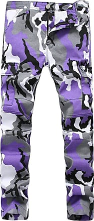 Yonglan Mens Super Stretch Skinny Pants Camouflage Casual Cargo Tapered Trousers Purple 30