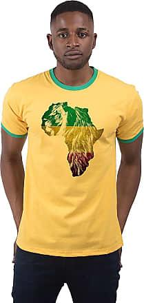 Bang Tidy Clothing Mens Ethiopian Lion of Judah Rasta Rastafari African Flag Ringer T Shirt Yellow & Green XL
