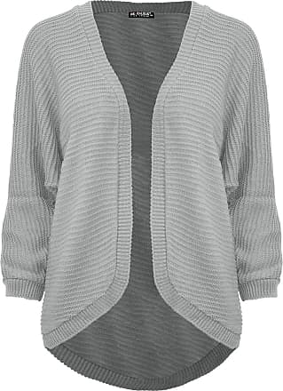 Be Jealous Womens Ladies Cape Cardigan Knitted Batwing Waterfall Open Front Poncho Sweater Grey