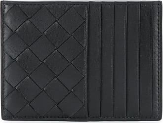 Bottega Veneta Porta-cartões de couro com trançado - Preto