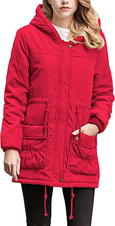NPRADLA Womens Fashion Slim Casual Winter Warm Jacket Collar Hooded Zipper Pocket Parker Coat Outwear Red