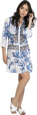 101 Resort Wear Vestido Chemise Evasê Meia Manga 101 Resort Wear Azul