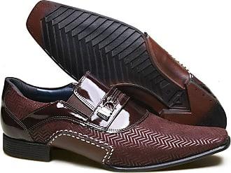 Calvest Sapato Social em Couro com Textura NBJ e Verniz Calvest - 3260C889 Bordô - 40