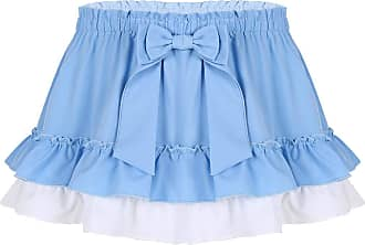 TiaoBug CHICTRY Unisex Sissy Adult Baby Crossdressing Ruffle Fancy Dress Gingham Micro Mini Skirt Light_Blue X-Large