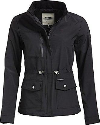 khujo Damen Jacke EZREAL schwarz einfarbig Sommerjacke Stehkragen Kordelzug