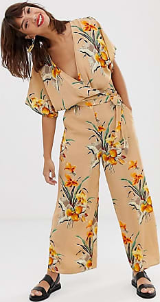 & Other Stories wrap jumpsuit in tropical flower print-Beige