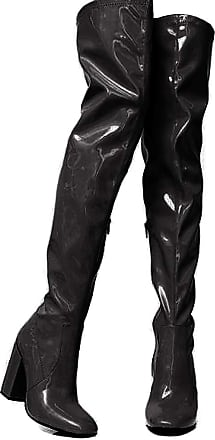 Vimisaoi Womens Fluorescent Thigh-high Boots, High Chunky Heel Round Toe Glitter Dress Over-The-Knee Boots Black