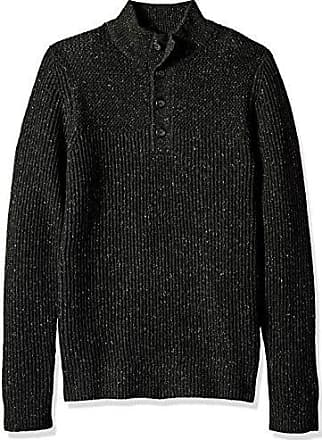 Van Heusen Mens Long Sleeve Ribbed 1/4 Button Sweater 7GG, Black Heather, X-Large